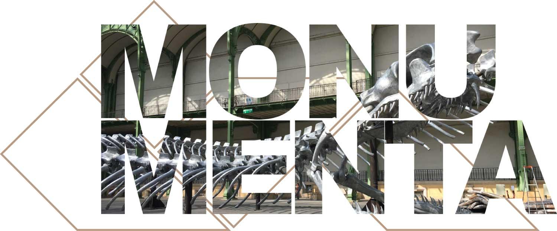 projet Monumenta Empire oeuvre de l'artiste Huang Yong Ping , détail squelette serpent de l'oeuvre